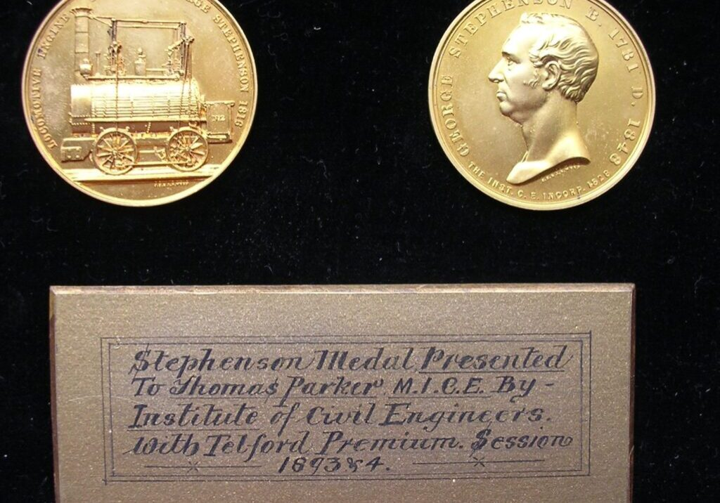 Stephenson medal awarded to Thomas Parker by the Institute of Civil Engineers (1894) courtesy of Ironbridge Gorge Museum Trust